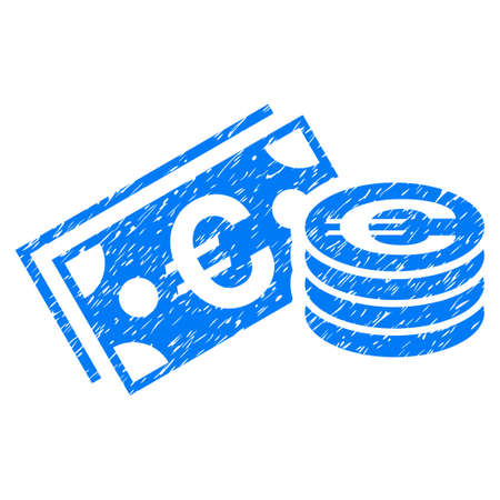 Grunge Euro Cash icon with grunge design and dirty texture. Unclean raster blue pictogram for rubber seal stamp imitations and watermarks. Draft sticker symbol.