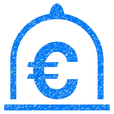 Grunge Euro Standard icon with grunge design and unclean texture. Unclean raster blue pictogram for rubber seal stamp imitations and watermarks. Draft emblem symbol.