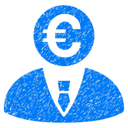 Grunge Euro Banker icon with grunge design and scratched texture. Unclean raster blue pictogram for rubber seal stamp imitations and watermarks. Draft emblem symbol. Stock Photo
