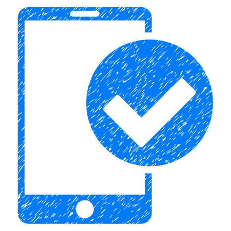Grunge Phone Ok icon with grunge design and dirty texture. Unclean vector blue pictogram for rubber seal stamp imitations and watermarks. Draft sticker symbol.