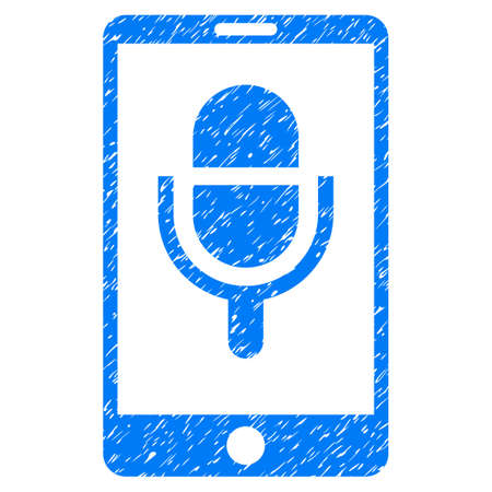 touchpad: Grunge Phone Microphone icon with grunge design and dust texture. Unclean vector blue pictogram for rubber seal stamp imitations and watermarks. Draft sticker symbol.