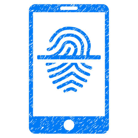 communicator: Grunge Smartphone Fingerprint Scanner icon with grunge design and dirty texture. Unclean vector blue pictogram for rubber seal stamp imitations and watermarks. Draft sticker symbol.
