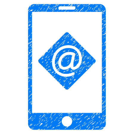 communicator: Grunge mobile email icon with grunge design and unclean texture. Unclean vector blue pictogram for rubber seal stamp imitations and watermarks. Draft sticker symbol.