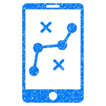 gps device: Grunge mobile navigation route icon with grunge design and scratched texture. Unclean vector blue pictogram for rubber seal stamp imitations and watermarks. Draft emblem symbol.