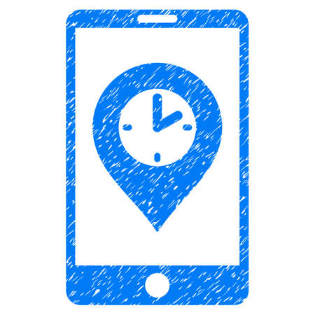 mobilephone: Grunge Mobile Time Pointer icon with grunge design and dust texture. Unclean vector blue pictogram for rubber seal stamp imitations and watermarks. Draft sign symbol.