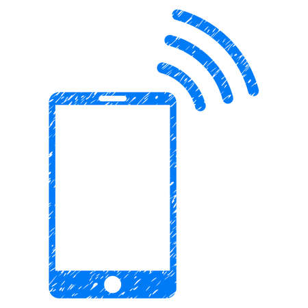 wireless signal: Grunge Mobile WiFi Signal icon with grunge design and dirty texture. Unclean vector blue pictogram for rubber seal stamp imitations and watermarks. Draft sign symbol.