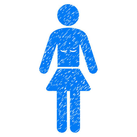 unclean: Grunge Lady icon with grunge design and unclean texture. Unclean vector blue pictogram for rubber seal stamp imitations and watermarks. Draft sticker symbol. Illustration