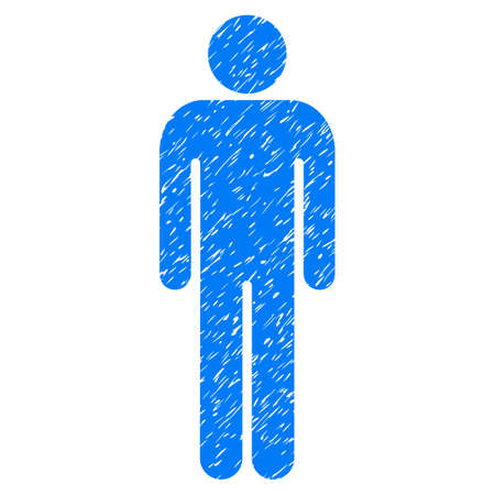 Grunge Man icon with grunge design and scratched texture. Unclean vector blue pictogram for rubber seal stamp imitations and watermarks. Draft emblem symbol.