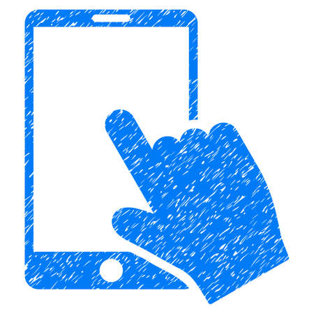 Grunge Touch Smartphone icon with grunge design and unclean texture. Unclean vector blue pictogram for rubber seal stamp imitations and watermarks. Draft emblem symbol.