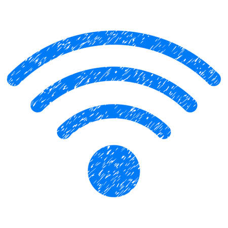 gsm: Grunge WiFi Source icon with grunge design and dirty texture. Unclean vector blue pictogram for rubber seal stamp imitations and watermarks. Draft sign symbol. Illustration