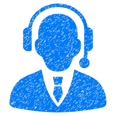 unclean: Grunge Call Center Operator icon with grunge design and dust texture. Unclean vector blue pictogram for rubber seal stamp imitations and watermarks. Draft emblem call center operator symbol. Illustration