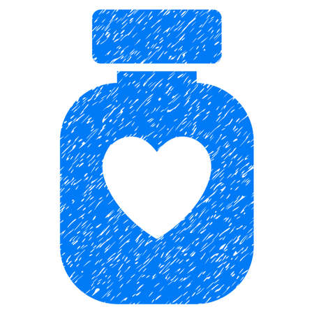 Grunge Favorite Medication icon with grunge design and dust texture. Unclean vector blue pictogram for rubber seal stamp imitations and watermarks. Draft sticker favorite medication symbol.