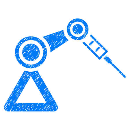 Grunge Medical Robot icon with grunge design and dust texture. Unclean vector blue pictogram for rubber seal stamp imitations and watermarks. Draft sticker medical robot symbol.
