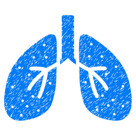 Grunge Respiratory System icon with grunge design and unclean texture. Unclean vector blue pictogram for rubber seal stamp imitations and watermarks. Draft emblem respiratory system symbol.