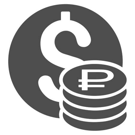 Dollar And Rouble Coins vector icon. Style is flat symbol, gray color, rounded angles, white background.