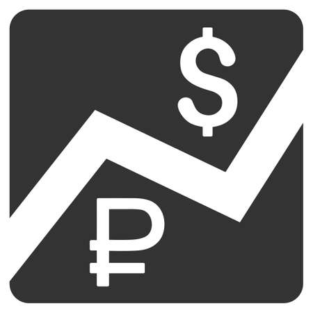 Rouble And Dollar Finances vector icon. Style is flat symbol, gray color, rounded angles, white background. Иллюстрация