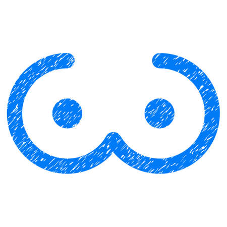 Grunge Female Breast icon with grunge design and dirty texture. Unclean raster blue pictogram for rubber seal stamp imitations and watermarks. Draft sign female breast symbol. Stock Photo