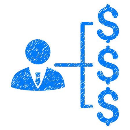 capitalist: Grunge Banker Payments icon with grunge design and dirty texture. Unclean vector blue pictogram for rubber seal stamp imitations and watermarks. Draft sign banker payments symbol. Illustration