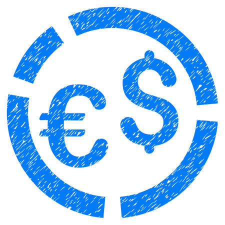 Grunge Currency Diagram icon with grunge design and dust texture. Unclean vector blue pictogram for rubber seal stamp imitations and watermarks. Draft sticker currency diagram symbol. Illustration