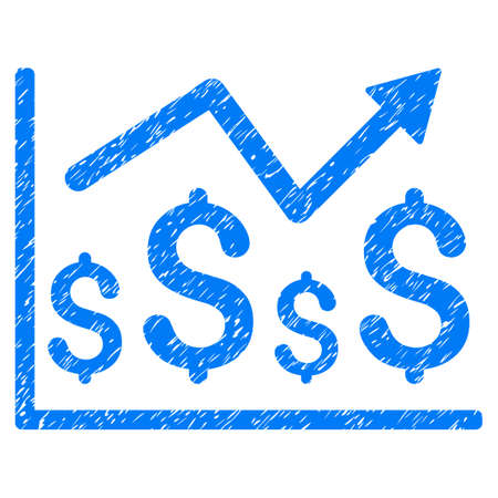 Grunge Financial Graph icon with grunge design and dirty texture. Unclean vector blue pictogram for rubber seal stamp imitations and watermarks. Draft sign financial graph symbol.