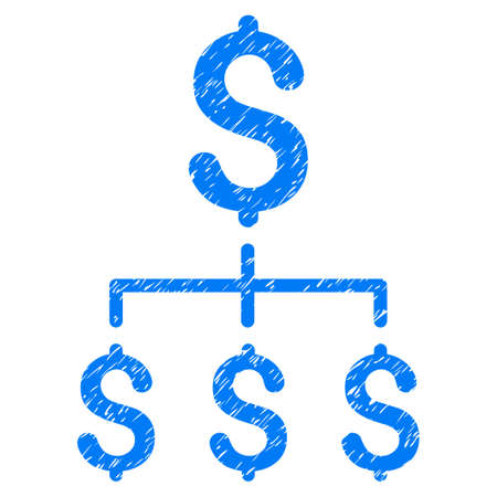 unclean: Grunge Financial Hierarchy icon with grunge design and unclean texture. Unclean vector blue pictogram for rubber seal stamp imitations and watermarks. Draft emblem financial hierarchy symbol.