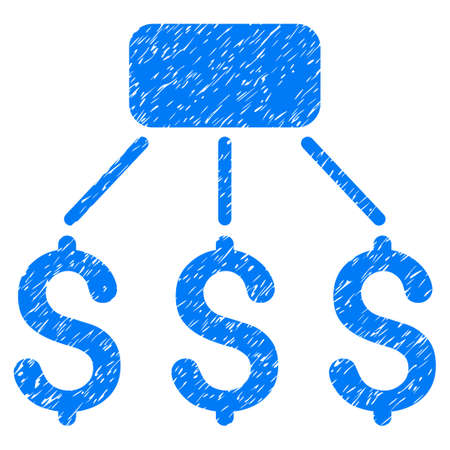 Grunge Financial Scheme icon with grunge design and dust texture. Unclean vector blue pictogram for rubber seal stamp imitations and watermarks. Draft sign financial scheme symbol.