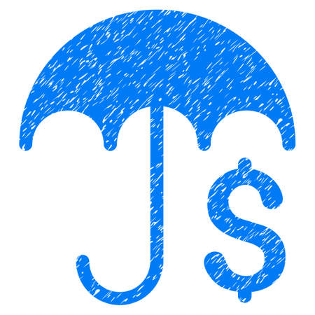 Grunge Financial Umbrella icon with grunge design and dust texture. Unclean vector blue pictogram for rubber seal stamp imitations and watermarks. Draft sticker financial umbrella symbol.