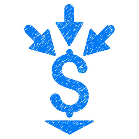 Grunge Integrate Payment icon with grunge design and unclean texture. Unclean vector blue pictogram for rubber seal stamp imitations and watermarks. Draft emblem integrate payment symbol. Illustration