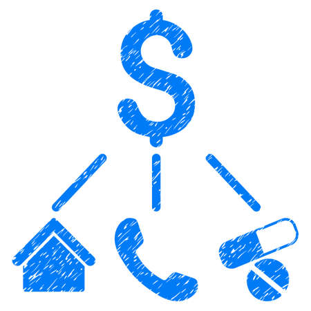 corrosion: Grunge Life Expenses icon with grunge design and scratched texture. Unclean vector blue pictogram for rubber seal stamp imitations and watermarks. Draft sticker life expenses symbol.
