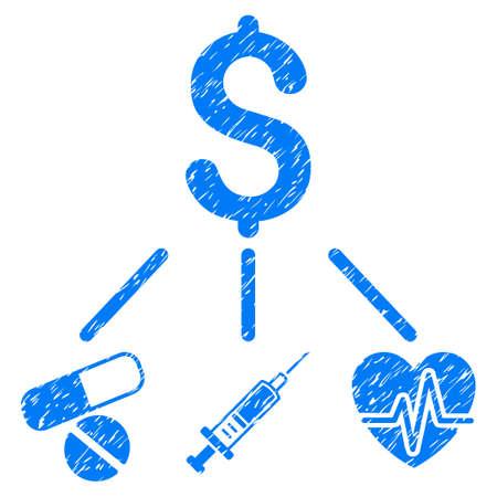 グランジ デザインと汚いテクスチャ グランジ医療予算アイコン。汚れたベクトル青ゴム シール切手の模造品と透かしのピクトグラム。ドラフト ス