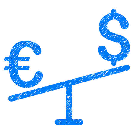 Grunge Euro Dollar Swing icon with grunge design and unclean texture. Unclean vector blue pictogram for rubber seal stamp imitations and watermarks. Draft emblem euro dollar swing symbol.