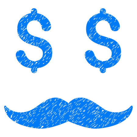 corrosion: Grunge Millionaire Mustache icon with grunge design and unclean texture. Unclean vector blue pictogram for rubber seal stamp imitations and watermarks. Draft emblem millionaire mustache symbol.