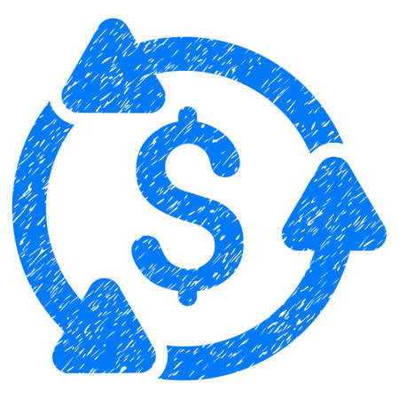 Grunge Money Circulation icon with grunge design and dirty texture. Unclean vector blue pictogram for rubber seal stamp imitations and watermarks. Draft sign money circulation symbol. Illustration
