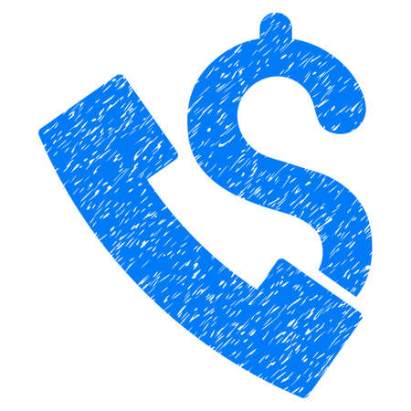 corrosion: Grunge Payphone icon with grunge design and unclean texture. Unclean vector blue pictogram for rubber seal stamp imitations and watermarks. Draft sign payphone symbol.