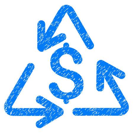 Icono de costo de reciclaje Grunge con diseño grunge y textura rayada. Pictograma azul del vector sucia para las imitaciones del sello de goma y las filigranas. Borrador emblema símbolo de costo de reciclaje. Vectores