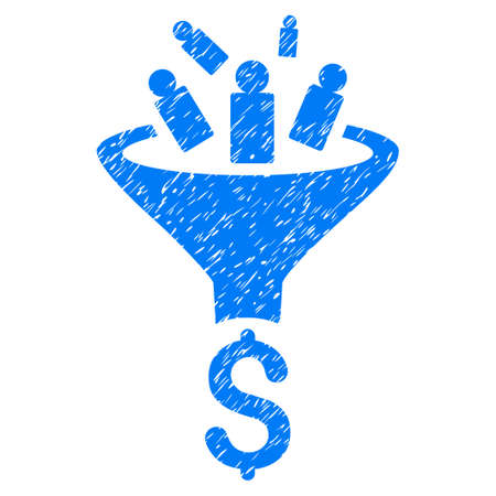 corrosion: Grunge Sales Funnel icon with grunge design and unclean texture. Unclean vector blue pictogram for rubber seal stamp imitations and watermarks. Draft sticker sales funnel symbol. Illustration