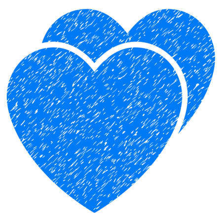 corrosion: Grunge Love Hearts icon with grunge design and dust texture. Unclean vector blue pictogram for rubber seal stamp imitations and watermarks. Draft emblem love hearts symbol. Illustration