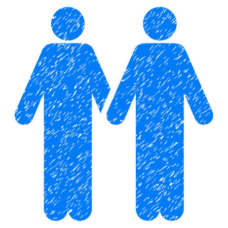 Grunge Gay Couple icon with grunge design and dirty texture. Unclean raster blue pictogram for rubber seal stamp imitations and watermarks. Draft sticker gay couple symbol.