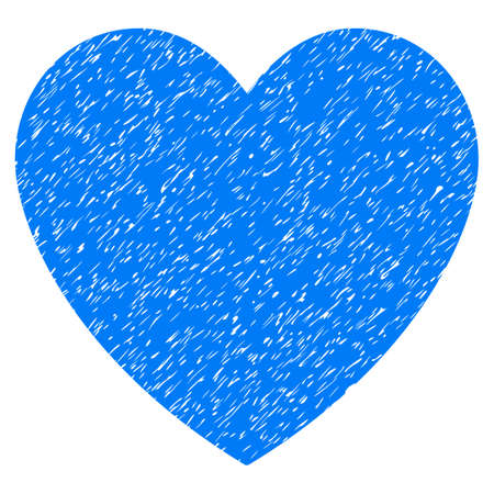 Grunge Love Heart icon with grunge design and dirty texture. Unclean raster blue pictogram for rubber seal stamp imitations and watermarks. Draft emblem love heart symbol.