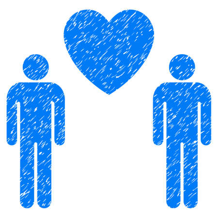 unclean: Grunge Gay Lovers icon with grunge design and dust texture. Unclean vector blue pictogram for rubber seal stamp imitations and watermarks. Draft emblem gay lovers symbol. Illustration