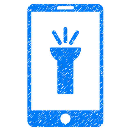 Grunge Mobile Torch App icon with grunge design and dirty texture. Unclean raster blue pictogram for rubber seal stamp imitations and watermarks. Draft sticker symbol. Stock Photo