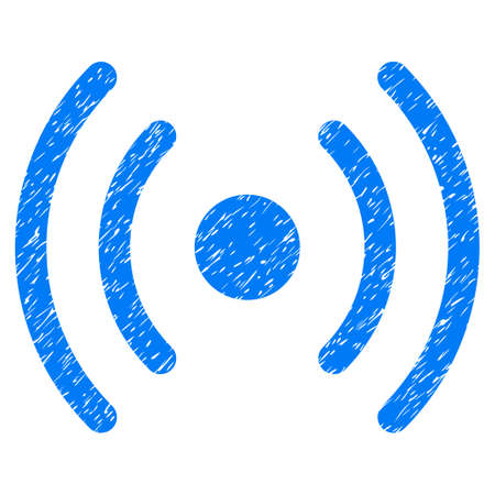 Grunge Wi-Fi Source icon with grunge design and dirty texture. Unclean raster blue pictogram for rubber seal stamp imitations and watermarks. Draft emblem symbol. Stock Photo