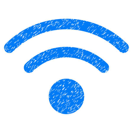 Grunge Wi-Fi icon with grunge design and unclean texture. Unclean raster blue pictogram for rubber seal stamp imitations and watermarks. Draft sign symbol.