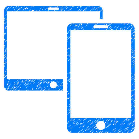 Grunge Mobile Devices icon with grunge design and dirty texture. Unclean raster blue pictogram for rubber seal stamp imitations and watermarks. Draft sign symbol.
