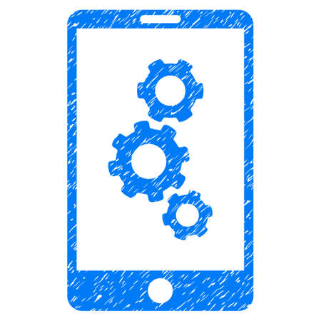 Grunge Smartphone Gears icon with grunge design and unclean texture. Unclean raster blue pictogram for rubber seal stamp imitations and watermarks. Draft sign symbol.
