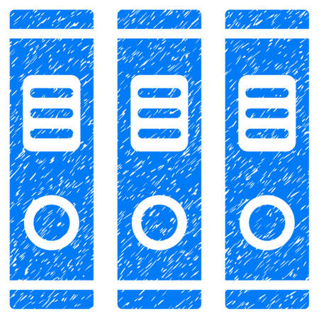 corrosion: Grunge Accounting Books icon with grunge design and dirty texture. Unclean raster blue pictogram for rubber seal stamp imitations and watermarks. Draft emblem accounting books symbol. Stock Photo