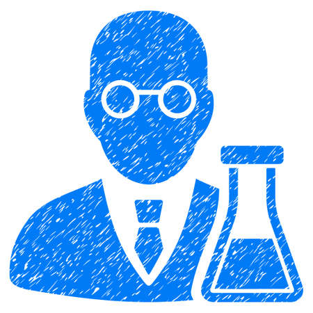 corrosion: Grunge Chemist icon with grunge design and dust texture. Unclean raster blue pictogram for rubber seal stamp imitations and watermarks. Draft sign chemist symbol. Stock Photo