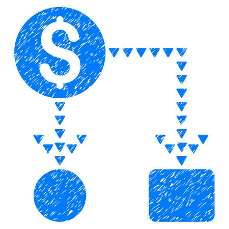 Grunge Cashflow Scheme icon with grunge design and scratched texture. Unclean raster blue pictogram for rubber seal stamp imitations and watermarks. Draft sign cashflow scheme symbol.