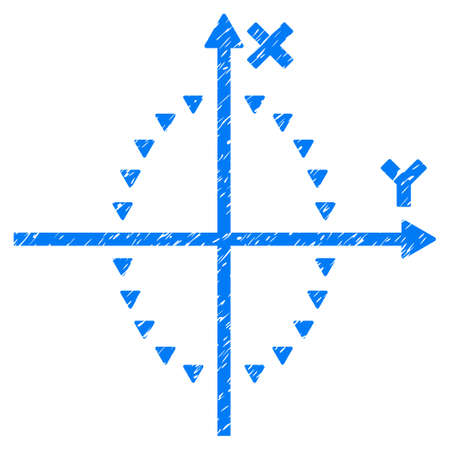 plot: Grunge Dotted Ellipse Plot icon with grunge design and dirty texture. Unclean raster blue pictogram for rubber seal stamp imitations and watermarks. Draft sticker dotted ellipse plot symbol.