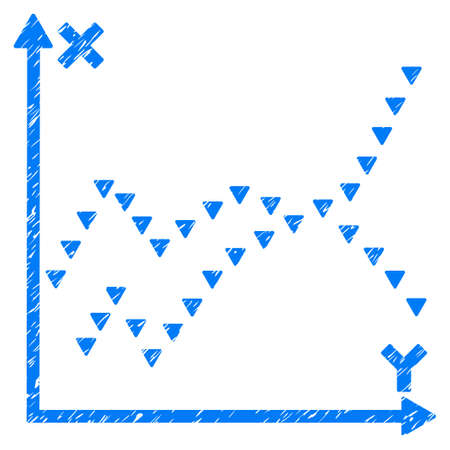 Grunge Dotted Functions Plot icon with grunge design and unclean texture. Unclean raster blue pictogram for rubber seal stamp imitations and watermarks. Draft emblem dotted functions plot symbol.